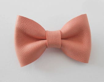Pink leather knot genuine of 4.5 x 3 cm