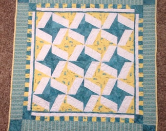 Baby Quilt With Mice Blue and Yellow