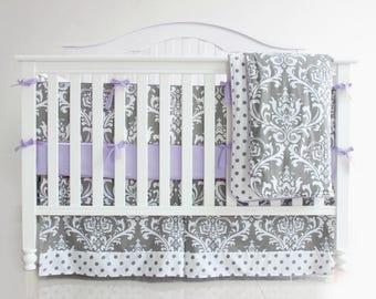 Grey & Purple Damask Crib Bedding Set. Nursery Bedding. Baby Bumpers. Crib Sheet . Baby Crib Bedding