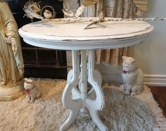 White oval accent end table hand painted distressed shabby cottage chic ornate furniture piece French farmhouse decor anita spero design