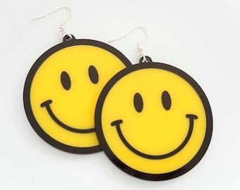 Smiley Face Earrings. Yellow Smile Dangly Earrings. Laser Cut New Rave Drop Earrings. Raver Smile Earrings. Acid House Smiley Face.