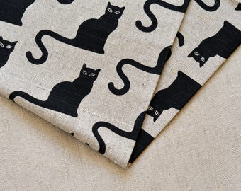 Linen black halloween cat  fabric 19,68 x 59 inch