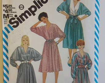Vintage Out of Print Simplicity  Discontinued Mock Wrap Dress Sewing Pattern 6295