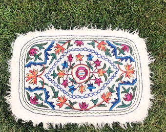 SWEDISH WOOL Throw Rug 1990s Vintage Embroidered Floral Print Small Rug Carpet