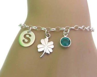 Personalized Clover Bracelet, Birthstone Bracelet, Initial Bracelet, Four Leaf Clover, Good Luck Clover, Sterling Silver Bracelet, Gift