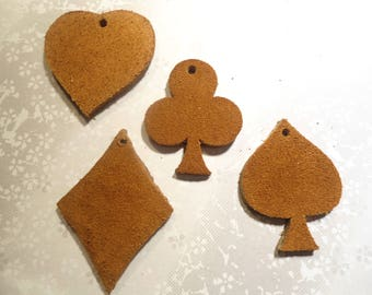 4 Pairs of Suede Hearts Clubs Diamonds and Spades