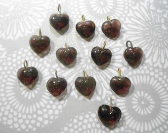 12 Glass 10mm Amethyst purple Heart Charms Pendants