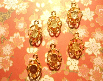 6 Goldplated Pendants with a 5x7mm Oval Stone Setting