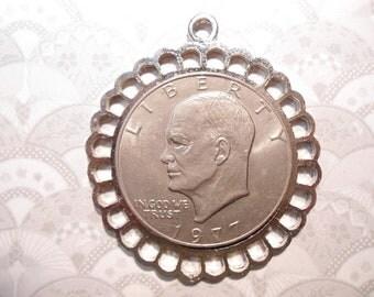 1 Silverplated Eisenhower Morgan Dollar Liberty Dollar Coin Holder Pendant