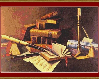 Music And Literature Cross Stitch Pattern