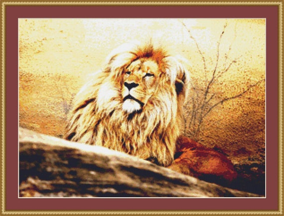 Male Lion Cross Stitch Pattern /Digital PDF Files /Instant downloadable
