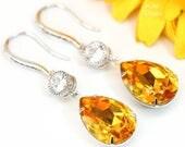 Yellow Earrings Sunflower Earrings Swarovski Crystal Light Topaz Bridesmaid Gift Yellow Jewelry Cubic Zirconia Dangle Drop Earrings LT31HC