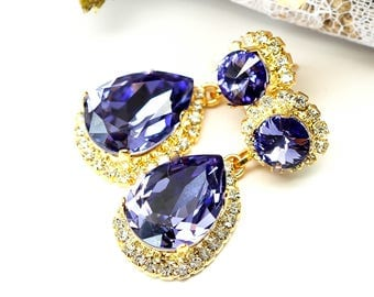 Purple Earrings Tanzanite Swarovski Earrings Chandelier Earrings Purple & Gold Earrings Crystal Rhinestone Jewelry Vintage Weddings TZ31DD