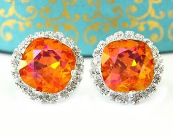 Orange Pink Stud Earrings Fuchsia Orange Earrings Large Stud Earrings Bridesmaid Jewelry Astral Pink Swarovski Crystal Cushion Cut AP50S