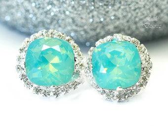 Mint Earrings Sea Foam Earrings Mint Green Earrings Swarovski Pacific Opal Earrings Bridesmaid Earrings Mint Weddings Sparkly Earrings MT50S