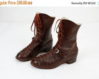 SALE Size 40EU / 9 US Boots / Brown Leather Boots / Lace Up Boots / Vintage Boots / Winter Boots / 30s Boots / Victorian Boots / Woman Boots