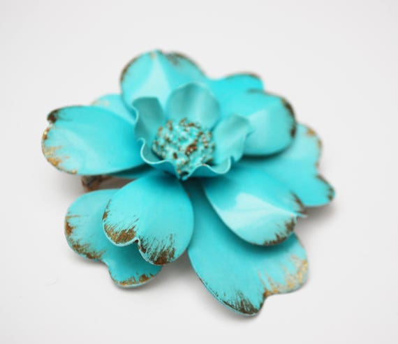 Turquoise Blue  Flower Brooch - Enamel Flower -Daisy carnation   - Mid century floral Pin