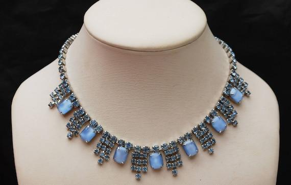 Blue Rhinestone Necklace  - Light blue moon glow glass crystal- Bib Mid Century