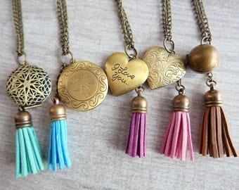 Necklace Locket Tassel