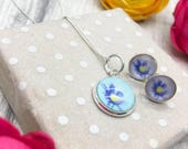 Floral jewellery gift set small petite sterling silver stud earrings and small pendant silk fabric purple and yellow anemone flower