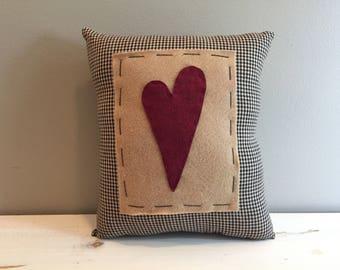 Heart Pillow Black Homespun Material
