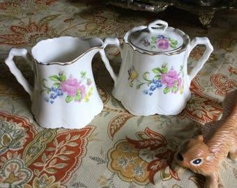 1940's WS George Radisson Shape Sugar Bowl and Creamer Floral