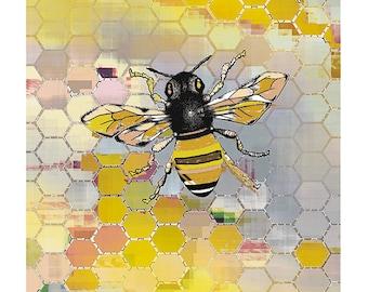 Bee Print Art / Honeycomb & Bee Art Poster/ Geometric Art / Honey Bee Print / 8X10 inches