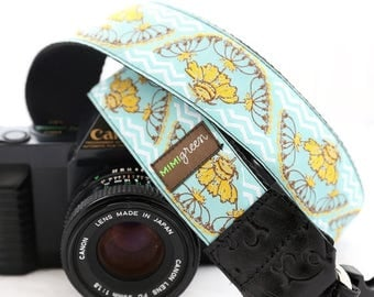 ON SALE The Santa Fe Blue Camera Strap with Quick Release Buckles -- 1.5 inches wide