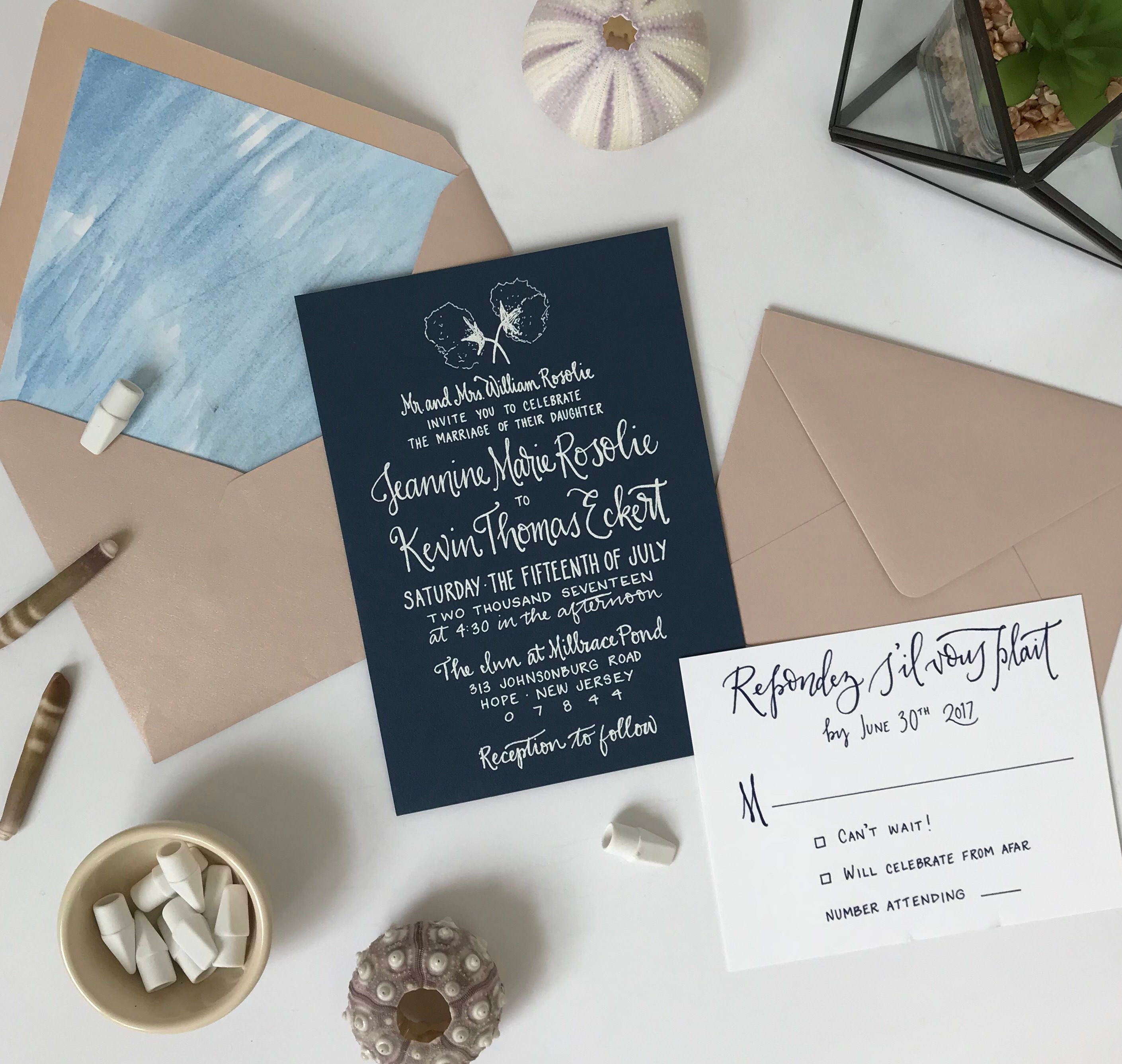 outdoor wedding invitations rose gold wedding invites navy wedding invites southern wedding invitations cotton wedding invites - Outdoor Wedding Invitations