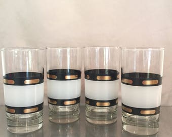 Set of Four retro black and gold high ball glasses
