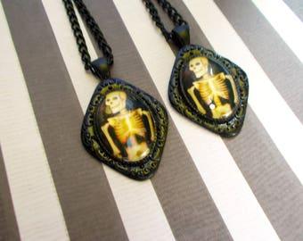 Skeleton Earrings - Halloween Earrings - Skeleton Jewelry - Goth Earrings - Spooky Earrings - Halloween Jewelry - Goth Punk - Punk - Black