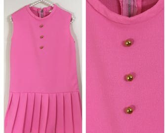 60s Mod Candy Pink Sleeveless A-line Pleated Hem Dress, Girls Size 7 to 8