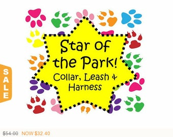 Puppy Love Sale - 40% Off Star of the Park - Collar, Leash and Harness Package! - Available in all Dog Collar Listings - Fabric