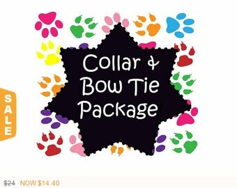 Collar and Bow-Tie Package!, Dog Collar Set, Dog Bow-Tie Set - Available in all Dog Collar Listings -