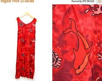 ON SALE 90s Dolphin Vacation Batik Dress Tie-dye Women's Large Tropical