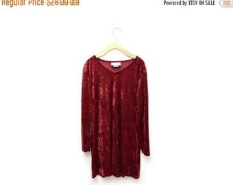 ON SALE 90s Maroon Crushed Velvet Mid Length Sleeve Dress Witchy Womens Large