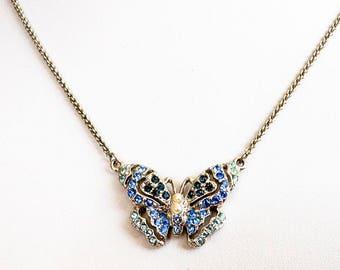 Vintage Monet Blue Rhinestone Butterfly Necklace