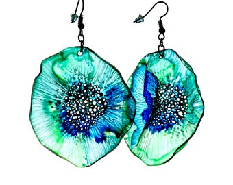 Eco-friendly earrings - green/blue/upcycled/ Woman's jewelry/Handmade colorful/Repurposed material/handpainted/plastic bottle
