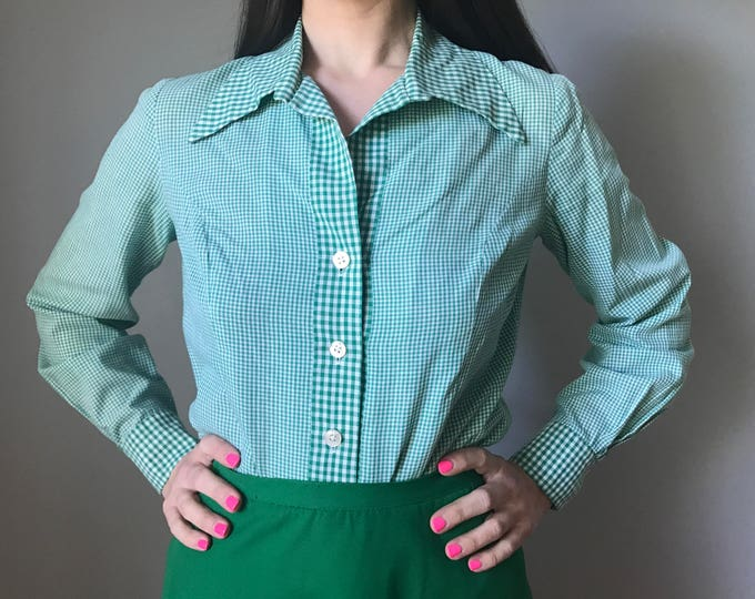 Vintage 70s Green Gingham Button Up Top