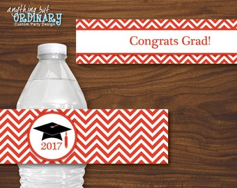 Red and White 2017 Graduation Water Bottle Labels, Printable Chevron Bottle Labels, INSTANT DOWNLOAD, digital file