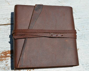 Kodiak Leather Bound Journal Handmade Leather Notebook Backpack Diary Ready to Ship Western Adventure Travel Journal (655)