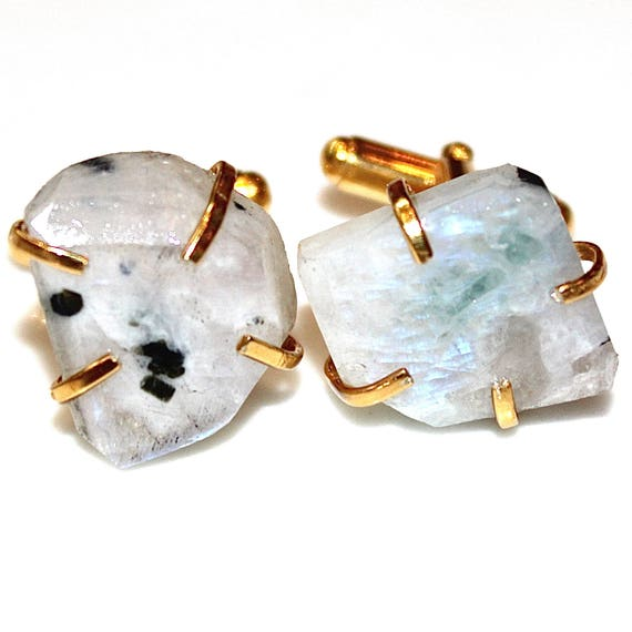 Raw Moonstone Cuff Links in Sterling Silver
