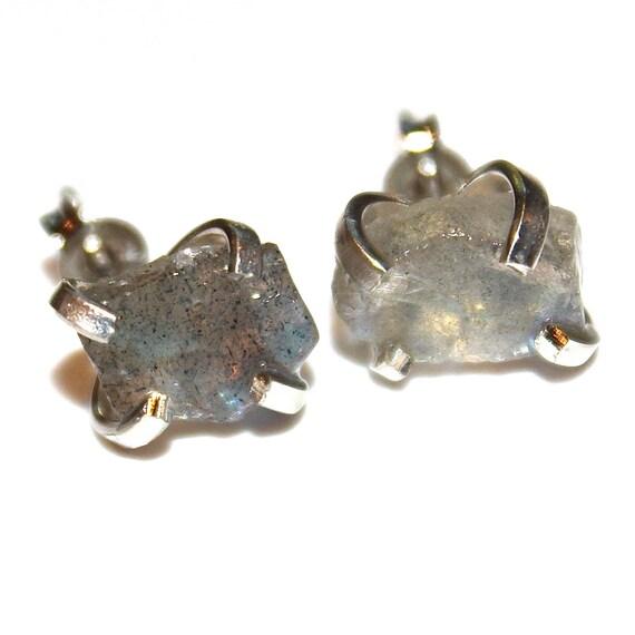 Raw Labradorite Stud Earrings in Sterling Silver