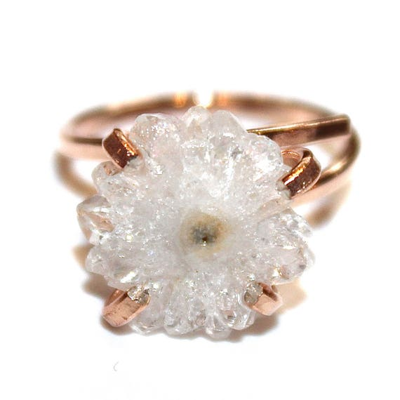 Tiny White Stalactite Ring in Rose Gold
