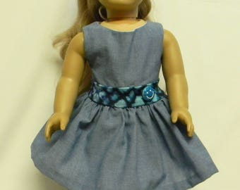 Blue Denim Sundress For 18 Inch Doll Like The American Girl