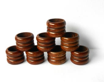 Vintage Napkin Rings Holders Set Of 8 Wood Round Ribbed Design