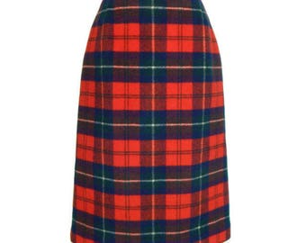 Vintage Red and Green Fall Pendleton Skirt