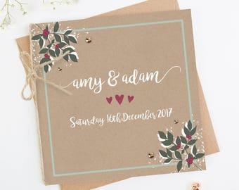Winter Blossom & Berries Folded Wedding Invitation