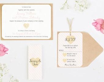 Blush wedding invitation -  belly band bundle striped