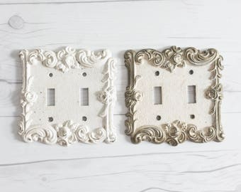 Vintage Brass Switch Plate Cover Set of 2